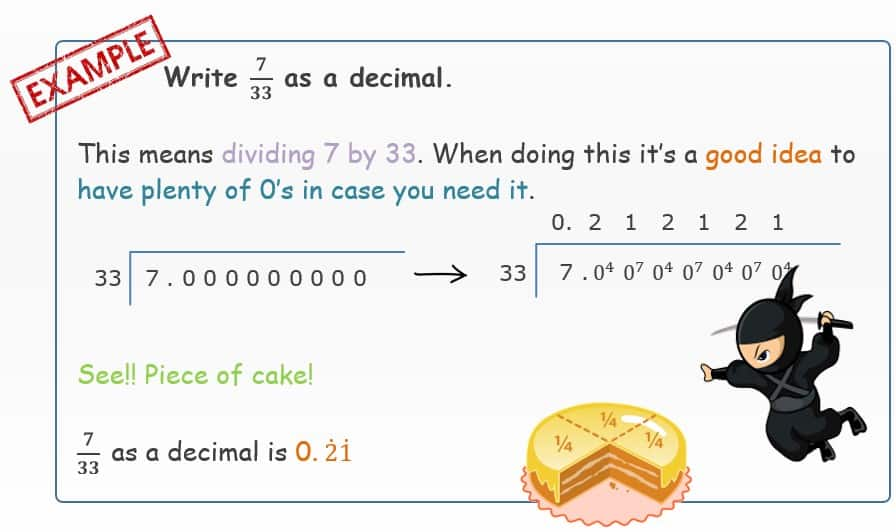 Recurring fractions to decimal